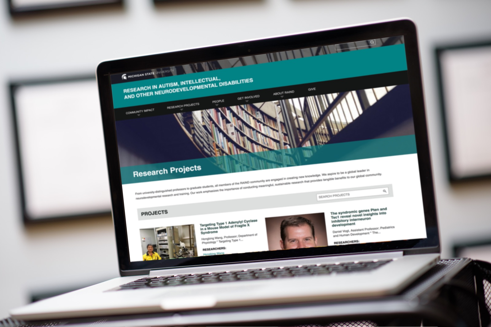 The Research Projects landing page on the MSU RAIND website