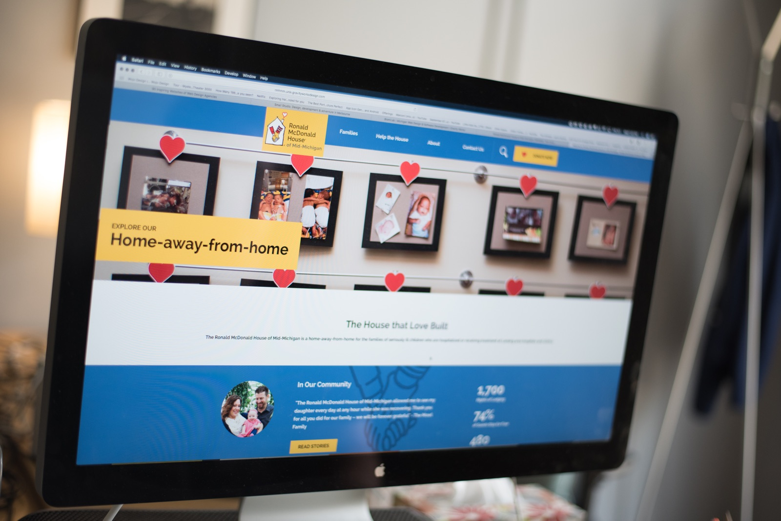 The Ronald McDonald House of Mid-Michigan website on a desktop