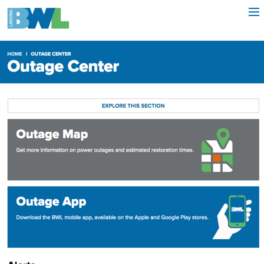 A screenshot of the BWL Outage Center page