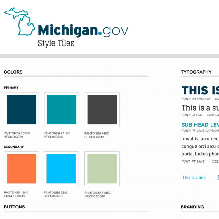 A style tile with the new Michigan.gov logo and brand