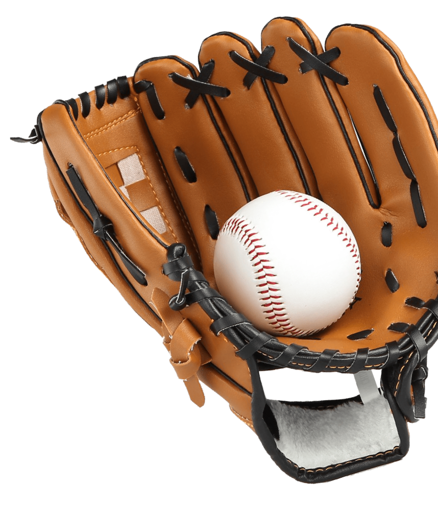 A baseball glove with a ball inside it