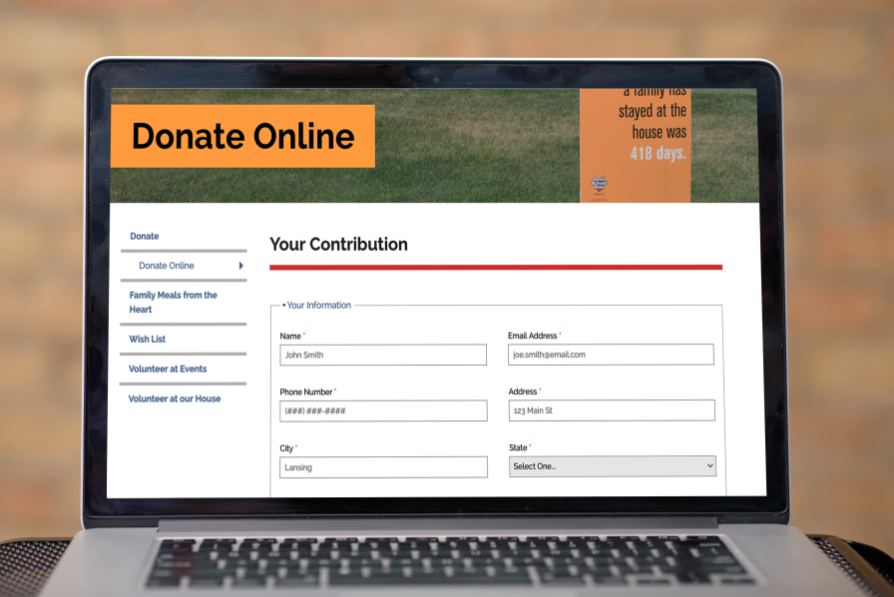 A screenshot of the RMHMM website's donation form
